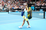 Caroline Wozniacki of Denmark walks off court after losing her Women's Singles third round match against Ons Jabeur of Tunisia on day five of the 2020 Australian Open at Melbourne Park on January 24, 2020 in Melbourne, Australia.