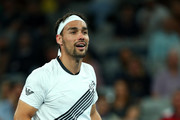 Fabio Fognini of Italy argues with the referee and umpire during his Men's Singles third round match against Guido Pella of Argentina on day five of the 2020 Australian Open at Melbourne Park on January 24, 2020 in Melbourne, Australia.