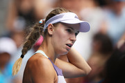 Caroline Wozniacki of Denmark looks on during her Women's Singles third round match against Ons Jabeur of Tunisia on day five of the 2020 Australian Open at Melbourne Park on January 24, 2020 in Melbourne, Australia.