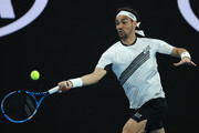 Fabio Fognini of Italy plays a forehand during his Men's Singles third round match against Guido Pella of Argentina on day five of the 2020 Australian Open at Melbourne Park on January 24, 2020 in Melbourne, Australia.