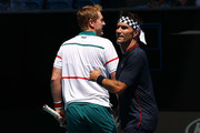 Pat Cash (R) and Mark Woodforde of Australia play in their Men's Legends Doubles match against Thomas Muster of Austria and Mats Wilander of Sweden on day eight of the 2020 Australian Open at Melbourne Park on January 27, 2020 in Melbourne, Australia.