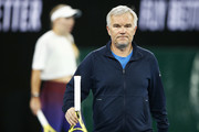 Piotr Wozniacki, coach and father of Caroline Wozniacki of Denmark is seen during practice ahead of the 2020 Australian Open at Melbourne Park on January 17, 2020 in Melbourne, Australia.