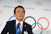 LAUSANNE, SWITZERLAND -JULY 3: Taro Aso, Finance and Deputy Prime Minister arrives for a press conference during the IOC 2020 Candidate Cities Briefing on July 3, 2013 in Lausanne, Switzerland.