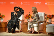 Halima Aden and Tory Burch speak onstage during the 2020 Embrace Ambition Summit by the Tory Burch Foundation at Jazz at Lincoln Center on March 05, 2020 in New York City.