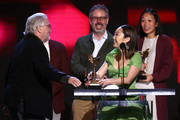 (L-R) Robert De Niro presents the Best Feature award for 'The Farewell' to Peter Saraf, Lulu Wang, and Anita Gou onstage during the 2020 Film Independent Spirit Awards on February 08, 2020 in Santa Monica, California.