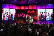 (L-R) Robert De Niro listens while Eddie Rubin, Peter Saraf, Lulu Wang, Anita Gou, Andrew Miano, and Daniele Tate Melia accept the Best Feature award for 'The Farewell' onstage during the 2020 Film Independent Spirit Awards on February 08, 2020 in Santa Monica, California.
