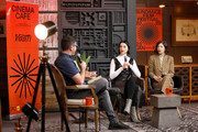 Jon Korn, St. Vincent and Carrie Brownstein speak at the 2020 Sundance Film Festival - Cinema Cafe With Carrie Brownstein And St. Vincent at Filmmaker Lodge on January 25, 2020 in Park City, Utah.