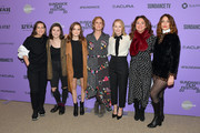 """(L-R) Miriam Shor, Molly Brown, Oona Laurence, Anne Carey, Amy Ryan, Director Liz Garbus and Lola Kirke attend the 2020 Sundance Film Festival - """"Lost Girls"""" Premiere at Eccles Center Theatre on January 28, 2020 in Park City, Utah."""