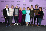 "(L-R) Avika Schaffer, Max Barbakow, Andy Samberg, Meredith Hagner, Camila Mendes, Cristin Milioti, Tyler Hoechlin, Andy Siara, and Becky Sloviter attend the 2020 Sundance Film Festival - ""Palm Springs"" Premiere at Library Center Theater on January 26, 2020 in Park City, Utah."