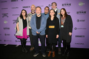 """Ai Weiwei, Daniela Alatorre, Carlos Rossini, Maria Luisa Aguilar, Niles Pagh Anderson and Elena Fortes attend the """"Vivos"""" premiere during the 2020 Sundance Film Festival at The Marc Theatre on January 24, 2020 in Park City, Utah."""