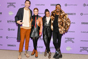 """(L-R) Nicholas Braun, Riley Keough, Taylour Paige, and Colman Domingo attend the """"Zola"""" premiere during the 2020 Sundance Film Festival at Eccles Center Theatre on January 24, 2020 in Park City, Utah."""
