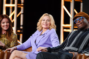 (L-R) Aubrey Dollar, Kim Cattrall and Steve Harris of 'Filthy Rich' speak during the Fox segment of the 2020 Winter TCA Press Tour at The Langham Huntington, Pasadena on January 07, 2020 in Pasadena, California.