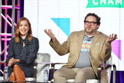 """Alyson Hannigan and Nacho Aguirre of """"Girl Scout Cookie Championship"""" speak during the Food Network segment of the 2020 Winter TCA Press Tour at The Langham Huntington, Pasadena on January 16, 2020 in Pasadena, California."""