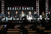 "(L-R) Andrew Sodroski, Michael Dinner, Jack Huston, Cameron Britton, Judith Light, Gethin Anthony, Kelly Jenrette and Arliss Howard of ""Manhunt: Deadly Games"""" speak on stage during the Spectrum Originals/Lionsgate Television segment of the 2020 Winter TCA Tour at The Langham Huntington, Pasadena on January 18, 2020 in Pasadena, California."