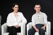 """Michelle Dockery and Jaeden Martell of """"Defending Jacob"""" speak onstage during the Apple TV+ segment of the 2020 Winter TCA Tour at The Langham Huntington, Pasadena on January 19, 2020 in Pasadena, California."""