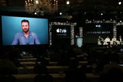 """Chris Evans speaks on the screen with Morten Tyldum, Michelle Dockery, Jaeden Martell and Mark Bomback of """"Defending Jacob"""" during the Apple TV+ segment of the 2020 Winter TCA Tour at The Langham Huntington, Pasadena on January 19, 2020 in Pasadena, California."""