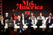 (L-R) Coco Francini, John Slattery, Stacey Sher, Uzo Aduba, Cate Blanchett, Margo Martindale, Dahvi Waller, Tracey Ullman, Anna Boden, Sarah Paulson, Ryan Fleck, and Elizabeth Banks of 'Mrs. America' speak during the FX segment of the 2020 Winter TCA Tour at The Langham Huntington, Pasadena on January 09, 2020 in Pasadena, California.