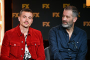 (L-R) Karl Glusman and Allon Reich of 'Devs' speak during the FX segment of the 2020 Winter TCA Tour at The Langham Huntington, Pasadena on January 09, 2020 in Pasadena, California.
