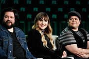 (L-R) Matt Berry, Natasia Demetriou, and Harvey Guillen of 'What We Do in the Shadows' speak during the FX segment of the 2020 Winter TCA Tour at The Langham Huntington, Pasadena on January 09, 2020 in Pasadena, California.