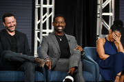 "(L-R) Dan Fogelman Sterling K. Brown and Susan Kelechi Watson of ""This Is Us"" speak during the NBCUniversal segment of the 2020 Winter TCA Press Tour at The Langham Huntington, Pasadena on January 11, 2020 in Pasadena, California."