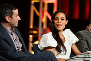 "Andy Greenwald and Rosario Dawson of ""Briarpatch"" speak during the NBCUniversal segment of the 2020 Winter TCA Press Tour at The Langham Huntington, Pasadena on January 11, 2020 in Pasadena, California."