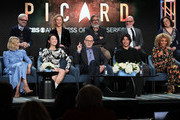"(L-R) Alison Pill, Alex Kurtzman, Isa Briones, Heather Kadin, Sir Patrick Stewart, Michael Chabon, Evan Evagora, Akiva Goldsman, Michelle Hurd and Kirsten Beyer of ""Star Trek: Picard"" speak during the CBS All Access segment of the 2020 Winter TCA Tour at The Langham Huntington, Pasadena on January 12, 2020 in Pasadena, California."