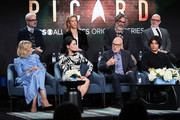 "(L-R) Alison Pill, Alex Kurtzman, Isa Briones, Heather Kadin, Sir Patrick Stewart, Michael Chabon, Evan Evagora and Akiva Goldsman of ""Star Trek: Picard"" speak during the CBS All Access segment of the 2020 Winter TCA Tour at The Langham Huntington, Pasadena on January 12, 2020 in Pasadena, California."
