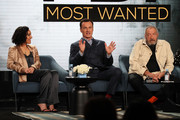 """(L-R) Keisha Castle-Hughes, Julian McMahon and Dick Wolf of """"FBI: Most Wanted"""" speak during the CBS segment of the 2020 Winter TCA Press Tour at The Langham Huntington, Pasadena on January 12, 2020 in Pasadena, California."""