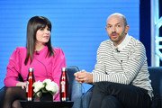 """Casey Wilson and Paul Scheer of """"Black Monday"""" speak during the Showtime segment of the 2020 Winter TCA Press Tour  at The Langham Huntington, Pasadena on January 13, 2020 in Pasadena, California."""