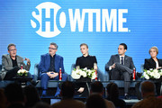 "(L-R) John Logan, Nathan Lane, Natalie Dormer, Daniel Zovatto, Ariana Barraza and Rory Kinnear of ""Penny Dreadful: City of Angels"" speak during the Showtime segment of the 2020 Winter TCA Press Tour  at The Langham Huntington, Pasadena on January 13, 2020 in Pasadena, California."