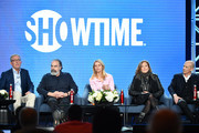 "(L-R) Alex Gansa, Mandy Patinkin, Claire Danes, Lesli Linka Glatter and Howard Gordon of ""Homeland"" speak during the Showtime segment of the 2020 Winter TCA Press Tour at The Langham Huntington, Pasadena on January 13, 2020 in Pasadena, California."