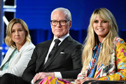 Sara Rea, Tim Gunn and Heidi Klum of Amazon Prime's 'Making the Cut' speak onstage during the 2020 Winter TCA Tour Day 8 at The Langham Huntington, Pasadena on January 14, 2020 in Pasadena, California.