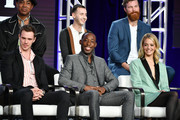 """(L-R, top row) Lamont Thompson, Nicholas Coombe, Derek Theler (bottom row) Sam Keeley, Jeremy Tardy and Gage Golightly of """"68 Whiskey"""" speak during the Paramount Network segment of the 2020 Winter TCA Press Tour at The Langham Huntington, Pasadena on January 14, 2020 in Pasadena, California."""
