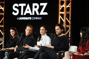 "(L-R) Caitríona Balfe, Sam Heughan, Sophie Skelton, Richard Rankin and executive producer Maril Davis of ""Outlander"" speak during the Starz segment of the 2020 Winter TCA Press Tour at The Langham Huntington, Pasadena on January 14, 2020 in Pasadena, California."