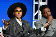 Janelle Monae and Stephan James of Amazon Prime's 'Homecoming' speak onstage during the 2020 Winter TCA Tour Day 8 at The Langham Huntington, Pasadena on January 14, 2020 in Pasadena, California.