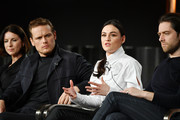 "(L-R) Caitríona Balfe, Sam Heughan, Sophie Skelton and Richard Rankin of ""Outlander"" speak during the Starz segment of the 2020 Winter TCA Press Tour at The Langham Huntington, Pasadena on January 14, 2020 in Pasadena, California."