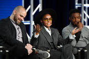 Kyle Patrick Alvarez, Janelle Monae and Stephan James of Amazon Prime's 'Homecoming' speak onstage during the 2020 Winter TCA Tour Day 8 at The Langham Huntington, Pasadena on January 14, 2020 in Pasadena, California.