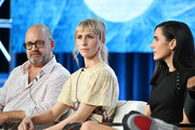 (L-R) Graeme Manson, Mickey Sumner and Jennifer Connelly of 'Snowpiercer' speak during the TNT segment of the 2020 Winter Television Critics Association Press Tour at The Langham Huntington, Pasadena on January 15, 2020 in Pasadena, California.