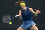 Andrea Petkovic of Germany plays a forehand in her Women's Singles first round match against Ons Jabeur of Tunisia during day one of the 2021 Australian Open at Melbourne Park on February 08, 2021 in Melbourne, Australia.