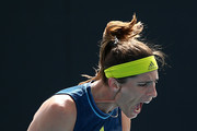 Andrea Petkovic of Germany celebrates after winning a point in her Women's Singles first round match against Ons Jabeur of Tunisia during day one of the 2021 Australian Open at Melbourne Park on February 08, 2021 in Melbourne, Australia.