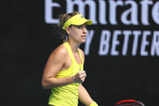 Angelique Kerber of Germany celebrates after winning a point in her Women's Singles first round match against Bernarda Pera of The United States of America during day one of the 2021 Australian Open at Melbourne Park on February 08, 2021 in Melbourne, Australia.