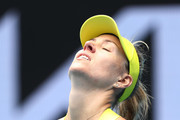 Angelique Kerber of Germany reacts in her Women's Singles first round match against Bernarda Pera of The United States of America during day one of the 2021 Australian Open at Melbourne Park on February 08, 2021 in Melbourne, Australia.