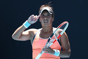 Heather Watson of Great Britain reacts in her Women's Singles first round match against Kristyna Pliskova of Czech Republic during day two of the 2021 Australian Open at Melbourne Park on February 09, 2021 in Melbourne, Australia.
