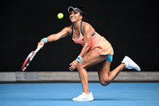 Heather Watson of Great Britain plays a forehand in her Women's Singles second round match against Anett Kontaveit of Estonia during day four of the 2021 Australian Open at Melbourne Park on February 11, 2021 in Melbourne, Australia.
