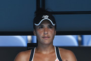 Heather Watson of Great Britain looks on between games in her Women's Singles second round match against Anett Kontaveit of Estonia during day four of the 2021 Australian Open at Melbourne Park on February 11, 2021 in Melbourne, Australia.