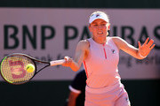 Ekaterina Alexandrova of Russia plays a forehand in their ladies first round match against  Venus Williams of The United States  during day three of the 2021 French Open at Roland Garros on June 01, 2021 in Paris, France.