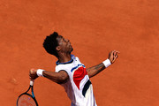Gael Monfils of France serves in their mens first round match against Albert Ramos Vinolas of Spain during day three of the 2021 French Open at Roland Garros on June 01, 2021 in Paris, France.