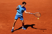 Albert Ramos Vinolas of Spain plays a forehand in their mens first round match against Gael Monfils of France during day three of the 2021 French Open at Roland Garros on June 01, 2021 in Paris, France.