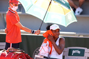 Venus Williams of The United States reacts in their ladies first round match against Ekaterina Alexandrova of Russia during day three of the 2021 French Open at Roland Garros on June 01, 2021 in Paris, France.