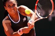 Heather Watson of Great Britain plays a backhand in their ladies singles first round match against Zarina Diyas of Kazakhstan on day two of the 2021 French Open at Roland Garros on May 31, 2021 in Paris, France.